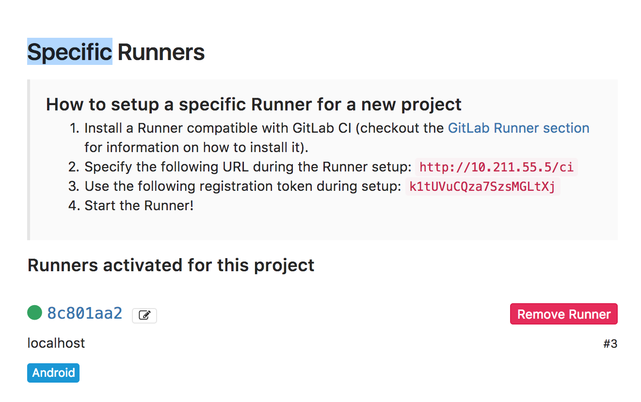 Project runner list