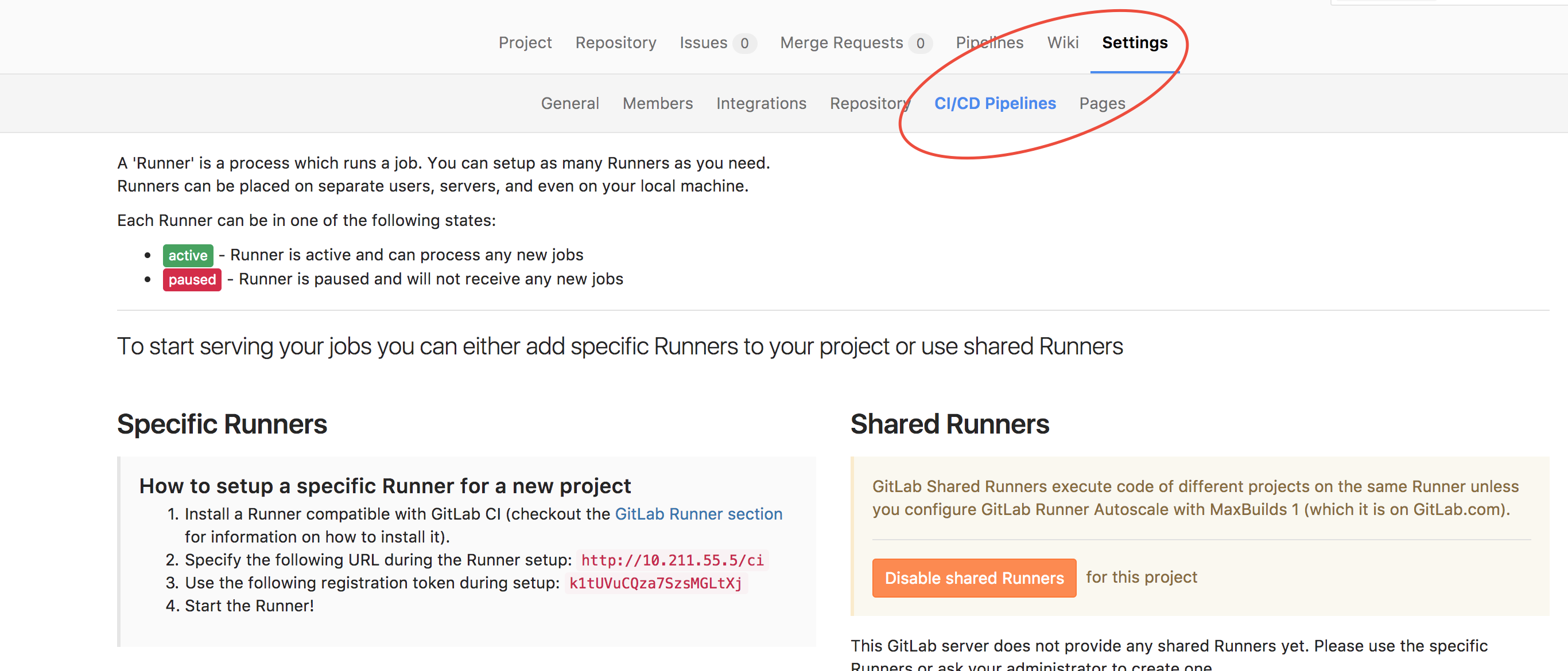 Gitlab project runner setup